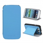 Protective ABS Plastic + PU Leather Foldable Holder Case for Samsung i9300 - Blue