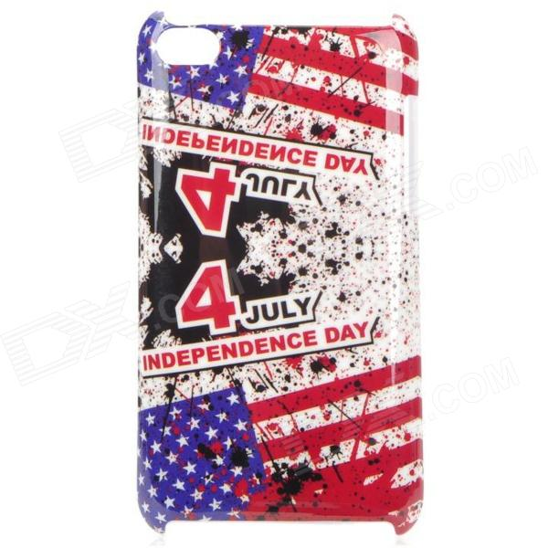 U.S. Independence Day Style Protective PC Back Case for Ipod Touch 4 - Red + Blue