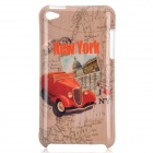 Cool New York Cabriolet Car Style Protective PC Back Case for Ipod Touch 4 - Beige + Red