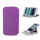 Protective 360 Degree Rotation ABS + PU Leather Holder Case for Samsung i9300 - Purple