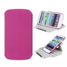 Protective 360 Degree Rotation ABS + PU Leather Holder Case for Samsung i9300 - Deep Pink