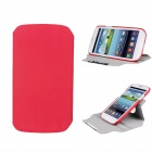 Protective 360 Degree Rotation ABS + PU Leather Holder Case for Samsung i9300 - Red
