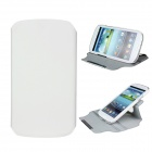 Protective 360 Degree Rotation ABS + PU Leather Holder Case for Samsung i9300 - White