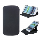 Protective 360 Degree Rotation ABS + PU Leather Holder Case for Samsung i9300 - Black