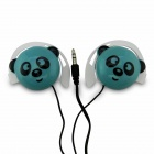Cute Panda Pattern Stereo Ear-Hook Earphone - Blue (3.5mm-Plug / 110cm-Cable)