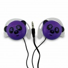 Cute Panda Pattern Stereo Ear-Hook Earphone - Purple (3.5mm-Plug / 110cm-Cable)