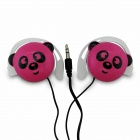 Cute Panda Pattern Stereo Ear-Hook Earphone - Pink (3.5mm-Plug / 110cm-Cable)
