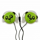 Cute Panda Pattern Stereo Ear-Hook Earphone - Green (3.5mm-Plug / 110cm-Cable)