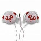 Cute Panda Pattern Stereo Ear-Hook Earphone - White (3.5mm-Plug / 110cm-Cable)
