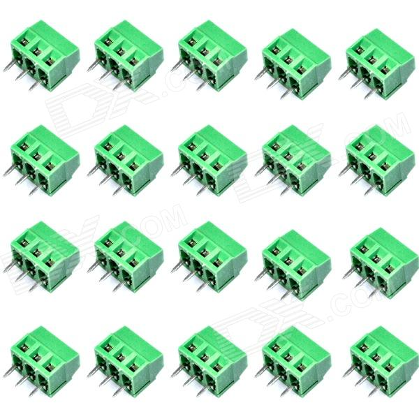 DIY 3-Pin Cable Wire Terminal Connectors - Green (20-Piece Pack) 2 pin cable wire terminal connectors green 20 piece pack 5 0mm