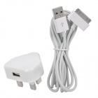 AC Power Adapter with USB Data/Charging Cable for iPhone 4 / 4S - White (UK Plug)
