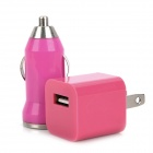 AC Power Adapter + Car Charger + USB Data/Charging Cable Set for iPhone 4 / 4S - Deep Pink