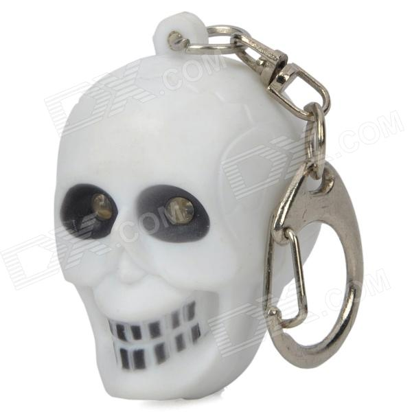 Cool Skull Keychain with Sound and Red Flashing Light - White