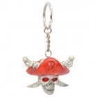 Cool Pirate Skull Keychain - Grey White + Red