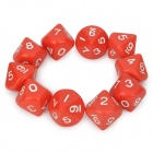 Unique 10-Sided Game Dice - Red (10-Piece Pack)