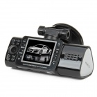 "AT50 2.0"" TFT 1.3 MP Dual-Lens Wide Angle CMOS Car DVR Camcorder w/ 16-IR Night Version - Black"