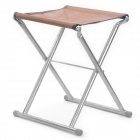 Outdoor Portable Folding Camping Fishing Chair Stool - Silver + Brown