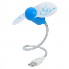 USB Powered 2-Blade Flexible Neck Cooling Fan - Blue + White