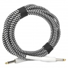 6.35mm Male to Male Audio Connection Cable for Guitar - Black + White (5m-Length)