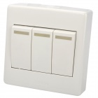 3-Gang Wall Power Control Switch with Fluorescent Light - White