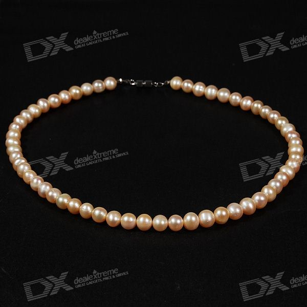 Elegante blanco natural collar de perlas (40 cm)