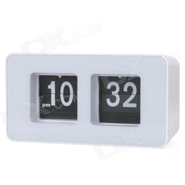 Simple Retro Auto Flip Number Desk Clock - White + Black (2 x AA)