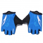 Outdoor Cycling Riding Half Finger Gloves with Protective Pad - Blue + Black (Pair/Size-XL)