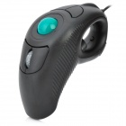 Handheld USB Wired 800 / 1000 DPI Trackball Mouse - Black