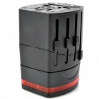 Universal Travel 250V 6A Power Plug Adapter with 2 USB Ports - Black (US/EU/AU/UK)