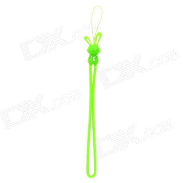Cute Cartoon Rabbit Figure Doll Silicone Cell Phone Strap - Green