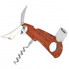 Multi-Function Wooden Stainless Steel Cigar Cutter with Saw Knife + Wine Opener - Silver + Brown