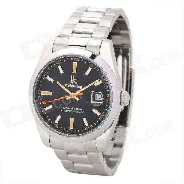 Genuine IK Colouring Stainless Steel Band Water Resistant Mechanical Wrist Watches - Black + Silver