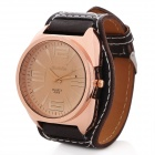 Fashion PU Leather Band Round Dial Quartz Wrist Watch - Black + Dark Brown (1 x SR626)