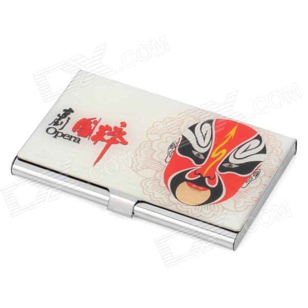 Chinese Peking Opera Faces Pattern Stainless Steel Business Card Case