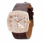 Luxury Lady's Square Dial w/ CrystalQuartz Wrist Watch - Brown + Golden (1 x SR626)