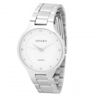 Simple Men's Stainless Steel Band Quartz Wrist Watch - White + Silver (1 x LR626)