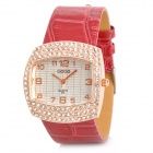 Luxury Lady's Square Dial w/ CrystalQuartz Wrist Watch - Red + Golden (1 x SR626)