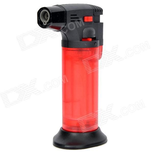 Desk Table Windproof Butane Torch Lighter with Safety Locking Switch - Red + Black