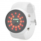 Stylish Round Mirror Dial Circling Ball Red / Green LED Wrist Watch - White (1 x SR626)