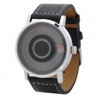 Stylish Round Dial PU Leather Band Quartz Wrist Watch - Black (1 x LR626)