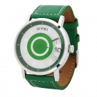 Stylish Round Dial PU Leather Band Quartz Wrist Watch - Green (1 x LR626)
