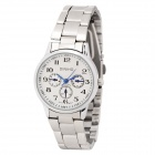 Simple Lady's Stainless Steel Band Round Dial Quartz Wrist Watch - White + Silver (1 x LR626)