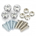 Metal License Plate Bolt Screw Caps with Rhinestone Set for Car - Silver (4-Piece Pack)