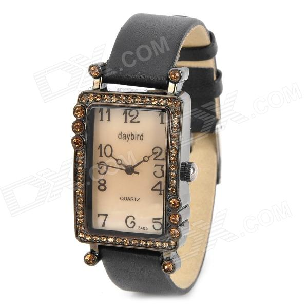 Graceful Lady's Leather Band Square Dial w/ Crystal Quartz Wrist Watch - Black + Golden (1 x LR626) men s silicone band big square dial quartz wrist watch black golden 1 x 377