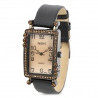 Graceful Lady's Leather Band Square Dial w/ Crystal Quartz Wrist Watch - Black + Golden (1 x LR626)