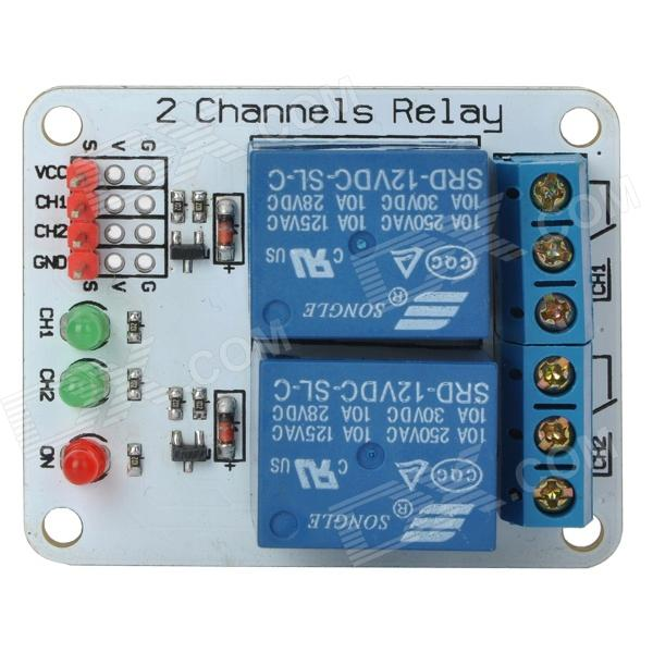2 Channel 12V Relay Module Extension Board for Arduino (Works with Official Arduino Boards) 1 channel relay module interface board shield for arduino 5v low level trigger one pic avr dsp arm mcu dc ac 220v