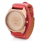 Fashion PU Leather Band Round Dial Quartz Wrist Watch - Red + Dark Brown (1 x SR626)