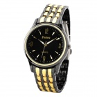 Genuine Feiwo Fashion Men's Round Dial Quartz Water Resistant Wrist Watch - Golden + Black (1 x 377)