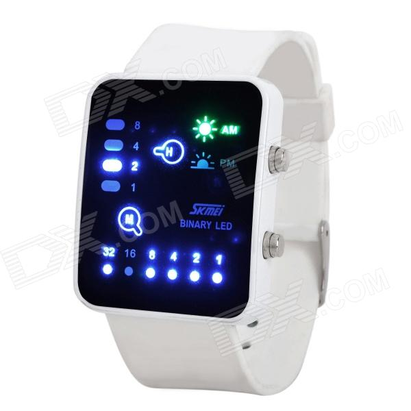 Fashion Silicone Band Water Resistant LED Binary Wrist Watch - White (1 x CR2016) fashion stainless steel red yellow led water resistant wrist watch black 2 x cr2016