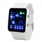 Fashion Silicone Band Water Resistant LED Binary Wrist Watch - White (1 x CR2016)